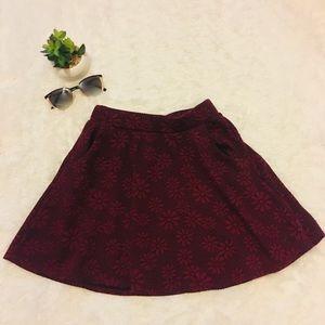 Burgundy Floral mini skirt